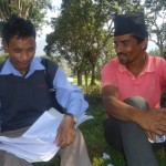 Student with local for an interview Charghare VDC Nuwakot - tilingtar educational tour 2069